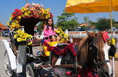 Lampang, Thailand: Girl in Horse Carriage at Wat Phra That Lampang Luan — Stock Photo