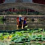 Chengdu, China: Woman PolingBoat at Long Tan Water Town — Stock Photo #35891883