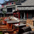 Chengdu, China: Wooden Touring Boats at Long TWater Town — Stock Photo #35892123