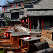 Chengdu, China: Wooden Touring Boats at Long Tan Water Town — Stock Photo