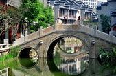 Chengdu, China: Bridge at Long Tan Water Town — Stock Photo