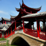 Chengdu, China: Covered Bridge at Long Tan Water Town — Stock Photo #35949417