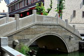 Chengdu, China Stone Bridge at Long Tan Water Town — Stock Photo