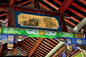 Dujiangyan, China: Painted Ceiling of Lang Qiao Covered Bridge — Stock Photo
