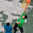 Bangkok, Thailand:  Two Thai Youths Playing Basketball — Foto Stock