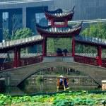 Chengdu, China: Woman Poles Boat under Bridge at Long Tan Water Town — Stock Photo #35993823