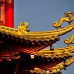 Chengdu, China: Dragon Figures on Dragon Pagoda at Long Tan Water Town — Stock Photo #35994059