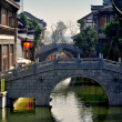 Stock Photo: Chengdu, China: Graceful Bridges at Long TWater Town