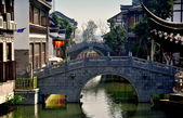 Chengdu, China: Graceful Bridges at Long Tan Water Town — Stock Photo