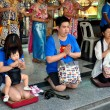 Stock Photo: Bangkok, Thailand: Devout Thais Praying at ErawShrine