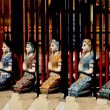 Stock Photo: Chiang Mai, Thailand: Row of Khong Figures at wat Muen Ngen Kong
