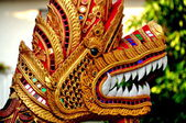 Chiang Mai, Thailand: Gilded Naga at Wat Sum Pao — Stock Photo