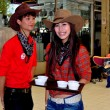 Bangkok, Thailand: Thai Teens Dressed as Cowboys at Or Tor Kor Market — Stock Photo
