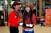Bangkok, Thailand: Thai Teens Dressed as Cowboys at Or Tor Kor Market — Stock Photo