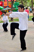 Bangkok, Thailand: Man Doing Tai 'Chi in Lumphini Park — Photo