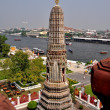 Bangkok, Thailand:  Corner Prang at Wat Arun and View Across Chao Praya River — Stock Photo