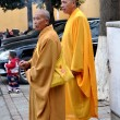 Pengzhou, China:  Two Monks Smoking near Temple — Foto de Stock