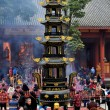 Pengzhou, China: Courtyard of Long Xing Monastery with People and Brazier Pagoda — Stock Photo #36383997