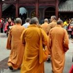 Pengzhou, China: Group of Monks at Long Xing Monastery — Stock Photo