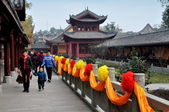 Pengzhou, China: Family at the Long Xing Monastery — Stock Photo