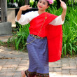 Chiang Mai, Thailand: Woman Dancing at JJ Sunday Market — Stock Photo