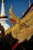 Chiang Mai, Thailand: Carved Dragon at Wat Phra Singh — Stock Photo
