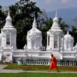 Chiang Mai, Thailand: Boy Monk Passing Royal Reliquary Tombs at Wat Suan Dok — Stock Photo