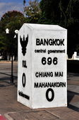 Chiang Mai, Thailand: Mileage Stone Marking Distance from Chiang Mai to Bangkok — Stock Photo