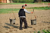 Pengzhou, China: Farmer Carrying Water Buckets Across Field — Stock Photo