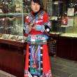 Chengdu, China: Shoopkeeper Wearing Traditional Chinese Robe — Stock Photo