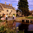 Lower Slaughter, England: Golden Stone Houses in Cotswold Village — Stok fotoğraf