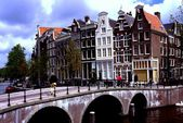Amsterdam, Holland: Gabled Houses on Keizersgracht Canal — Stock Photo