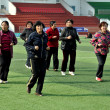 Pengzhou, China: Women Performing Tai 'Chi — Stock Photo