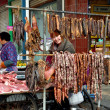 Pengzhou, China: Outdoor Butcher Shop Selling Sausages and other Meats — Stock Photo