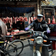 Pengzhou, China: Butcher Shops at Long Xing Marketplace — Stock Photo