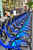 NYC: Row of Citibike Rental Bicycles at Docking Station — Stock Photo