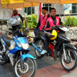 Stock Photo: Bangkok, Thailand: Motorcycle Taxi Drivers