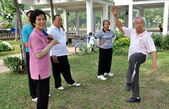 Bangkok, Thailand: People Doing Tai 'Chi in Lumphini Park — Stockfoto