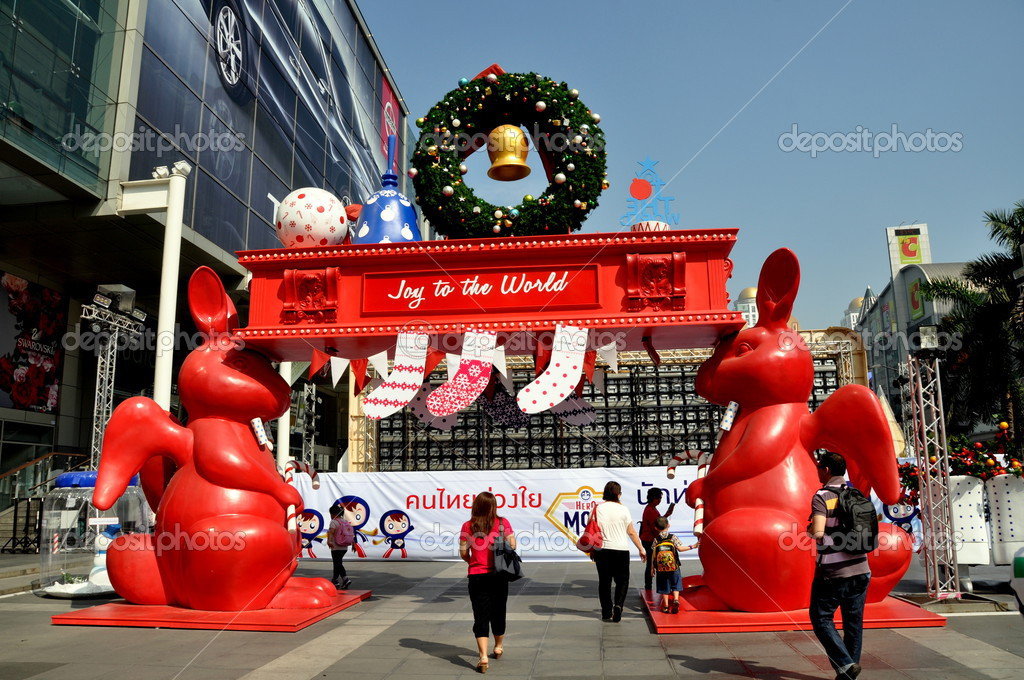Bangkok Thailand Christmas Decorations Comprised Ot Two Winged Red Rabbits An Arch Stockings And A Wreath At Central World Outdoor Plaza Photo By