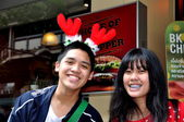Bangkok, Thailand: Two Thai Teens on Silom Road — Stock Photo