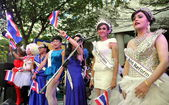 Bangkok,Thailand: Ladyboys Performing at Shut Down Bangkok Demonstration — Stock Photo