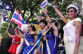 Bangkok, Thailand: Ladyboy Performers at Shut Down Bangkok Demonstration — Stock Photo