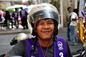 Bangkok, Thailand: Motorcycle Taxi Driver with Helmet — Stock Photo