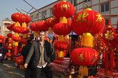 Pengzhou, China: Man Selling Chinese New Year Decorations — Stock Photo