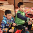 Pengzhou, China: Two Little Boys with New Year Decorations — Stock Photo