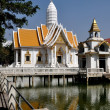 Stock Photo: Pattaya, Thailand: White Temple Pavilion at Wat Chai Mongkhon