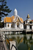 Pattaya, Thailand: White Temple Pavilion at Wat Chai Mongkhon — Stock Photo