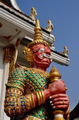 Pattaya, Thailand: Red-Faced Yak Guardian at Wat Chai Mongkhon — Stock Photo