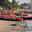 Stock Photo: Bang Saen, Thailand: Fishing Boats Moored on Beach