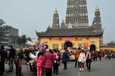 Pengzhou, China: Long Xing Square and Monastery — Stock Photo